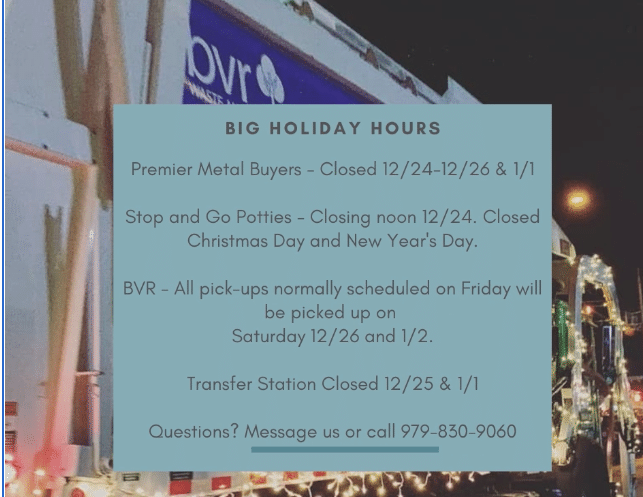 BIG Holiday Hours